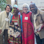 Sheilagh and Margaret from the Camrose Grateful Grannies with Maude and Daniel, guests from Zimbabawe