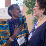 Miriam, guest from Uganda, with Judy Dube, Grandmother Regional Liaison for Northern Alberta